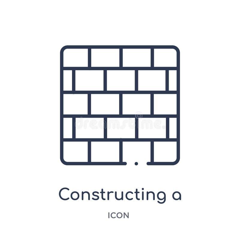 Liniowy budujący ściany z cegieł ikonę od budowa konturu kolekcji Cienieje linię buduje ściana z cegieł wektor odizolowywającego  royalty ilustracja