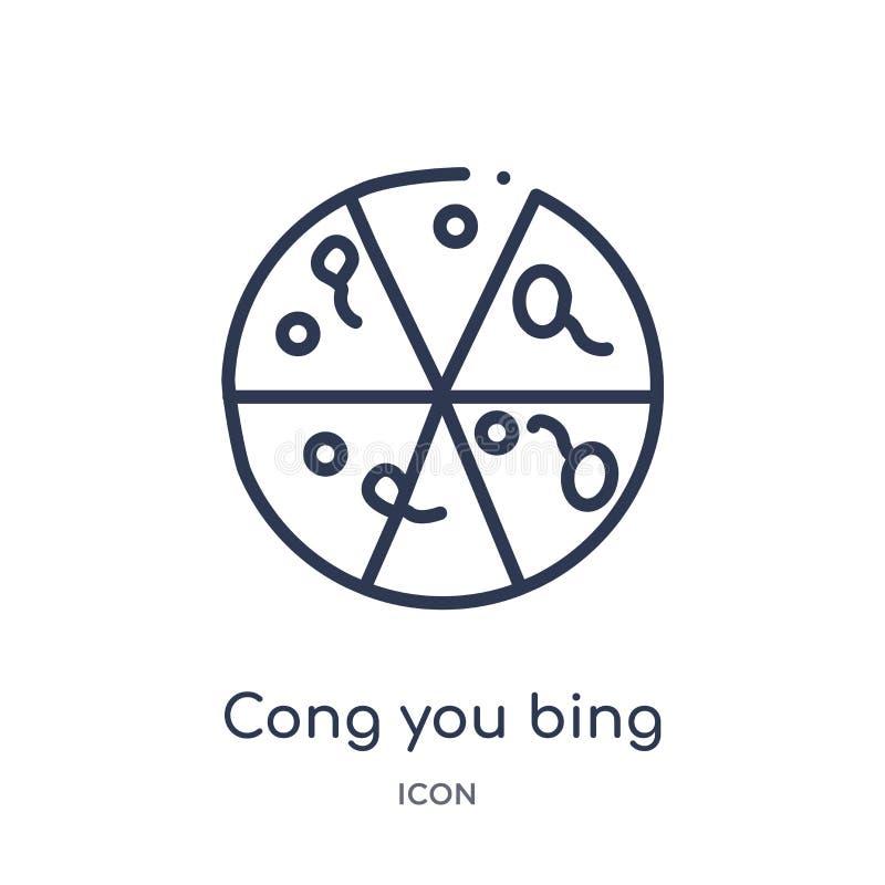 Liniowy cong ty bing ikona od jedzenia i restauracyjnej kontur kolekcji Cienieje kreskowego cong ty bing ikona odizolowywająca na ilustracji