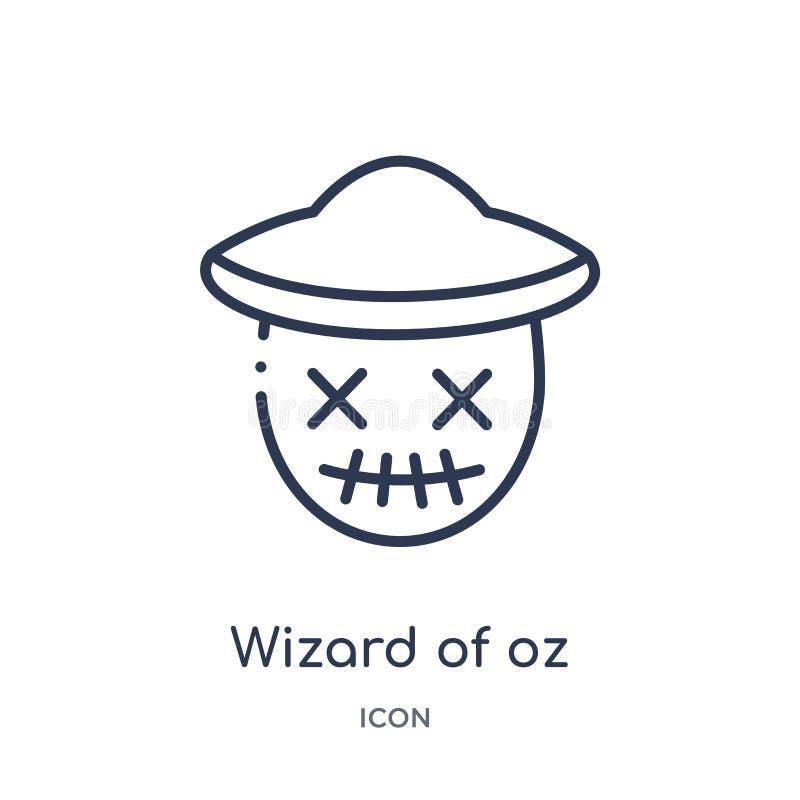 Liniowy czarownik oz ikona od edukacja konturu kolekcji Cienieje kreskowego czarownika odizolowywającego na białym tle oz wektor  ilustracja wektor