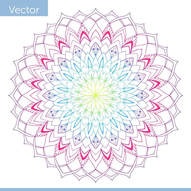 Liniowy dekoracyjny mandala Tęcza gradientu kolory ilustracja wektor