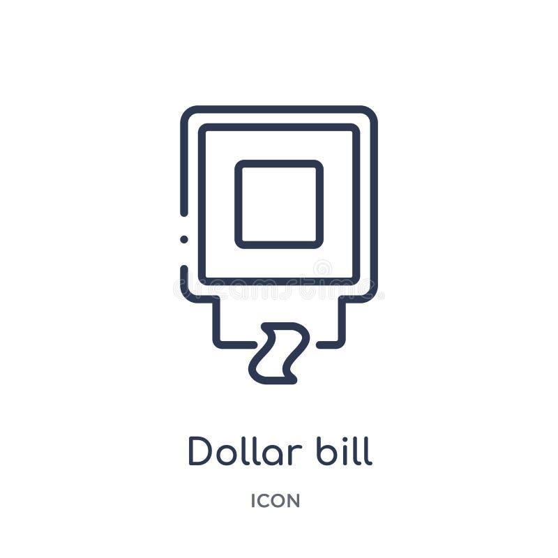 Liniowy dolarowy rachunek od gotówkowej maszyny ikony od Lotniskowej śmiertelnie kontur kolekcji Cienieje kreskowego dolarowego r royalty ilustracja