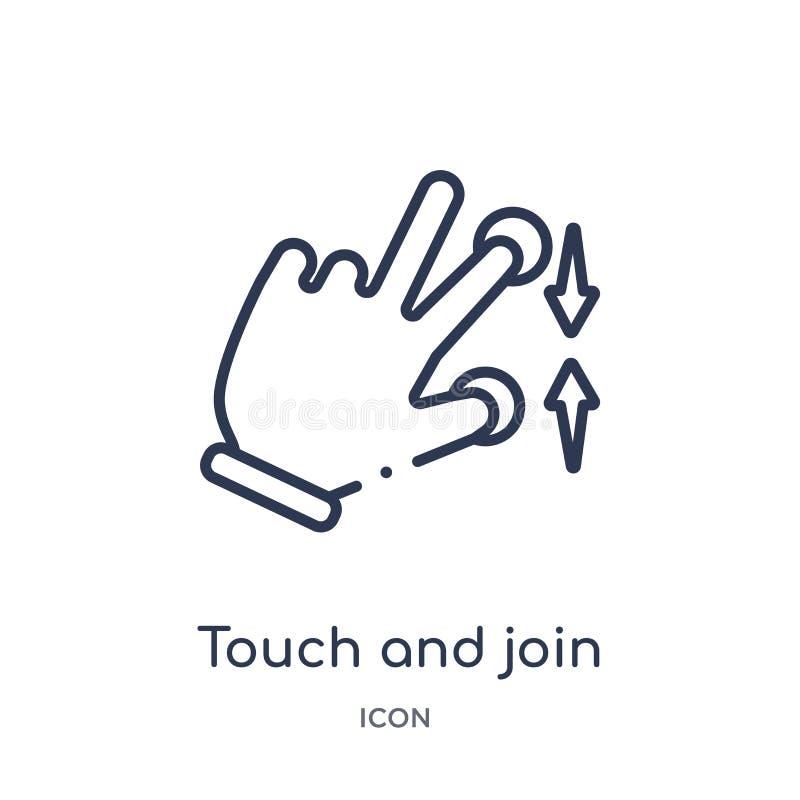 Liniowy dotyk i łączy ikonę od ręk i guestures zarysowywają kolekcję Cienki kreskowy dotyk i łączy ikonę odizolowywającą na biały ilustracja wektor