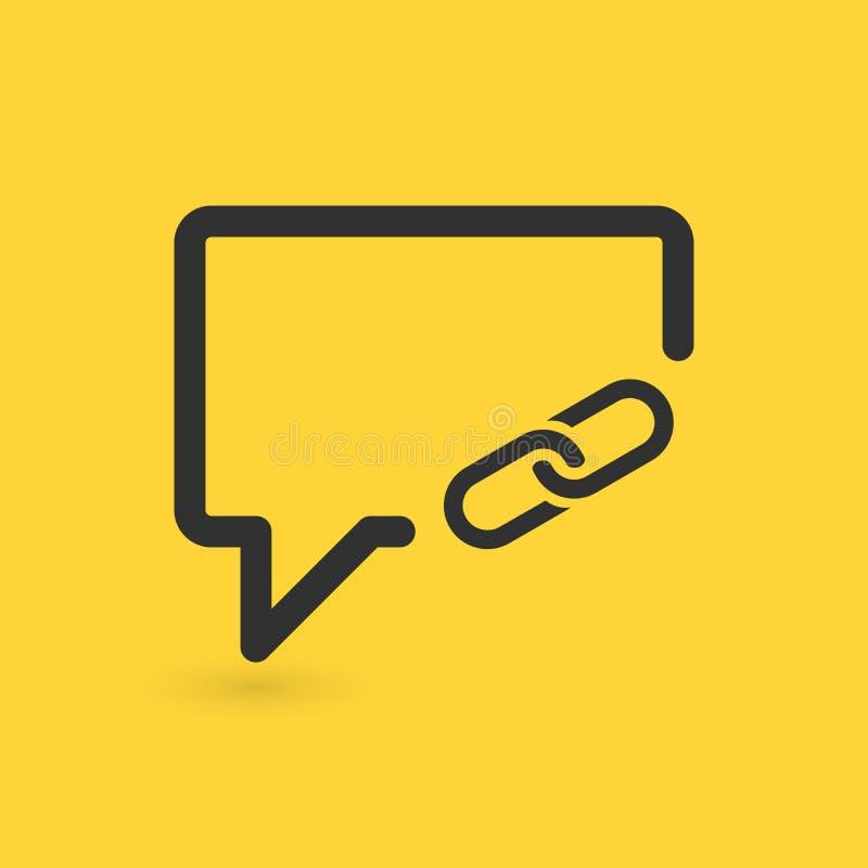 Liniowy gadka bąbel z części połączenia ikoną sieć guzik na żółtym tle również zwrócić corel ilustracji wektora ilustracja wektor