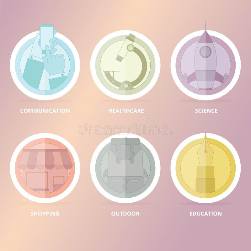 Liniowy ikona set royalty ilustracja