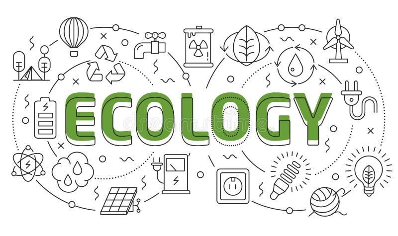 Liniowy ilustracyjny obruszenie dla prezentaci ekologii ilustracja wektor