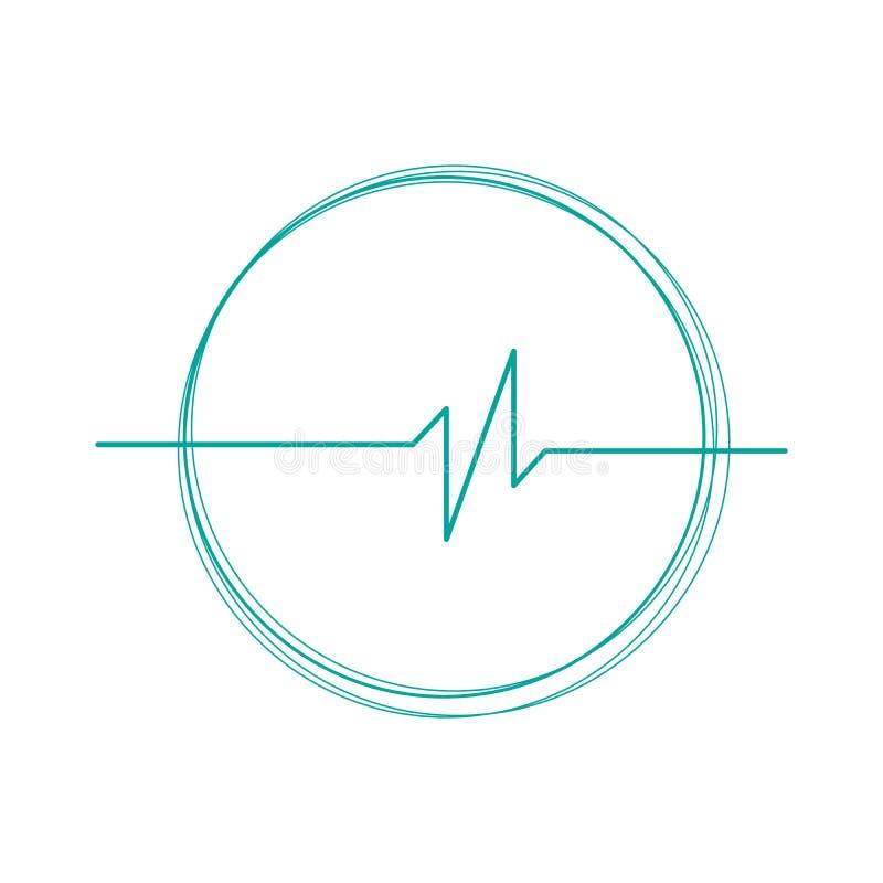 Liniowy kardiogram w cricle logo Kardiologia kierowego rytmu monitor ECG Puls linia Odosobniona wektorowa ilustracja ilustracja wektor