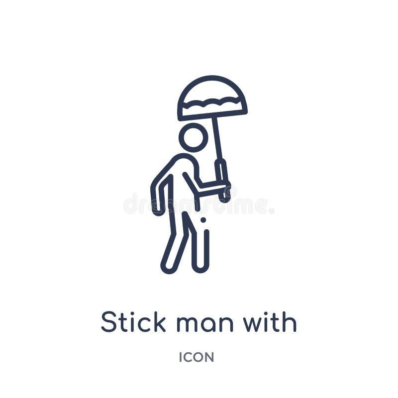 Liniowy kija mężczyzna z parasolową ikoną od zachowanie konturu kolekcji Cienki kreskowy kija mężczyzna z parasolowym wektorem od royalty ilustracja