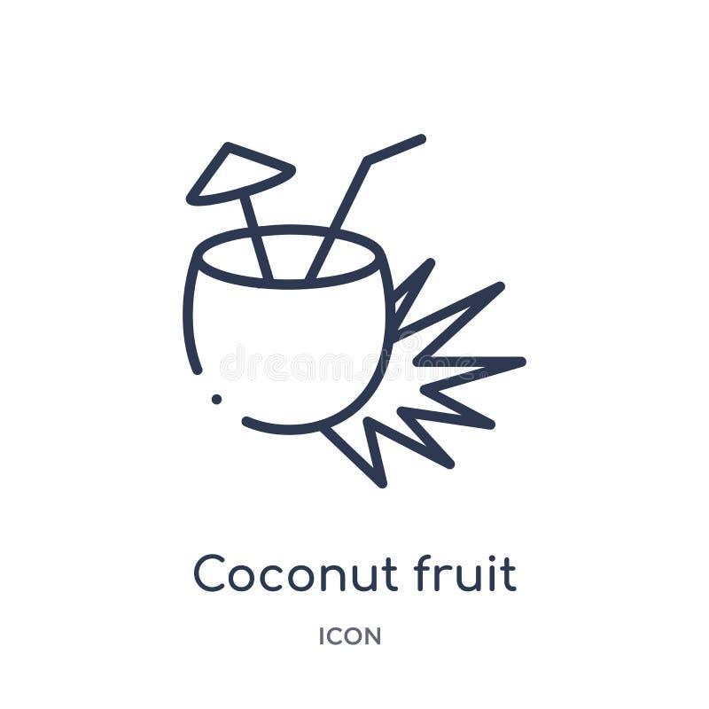 Liniowy kokosowy owocowy napój z słomianą ikoną od kultura konturu kolekcji Cienieje kreskowego kokosowego owocowego napój z słom ilustracja wektor