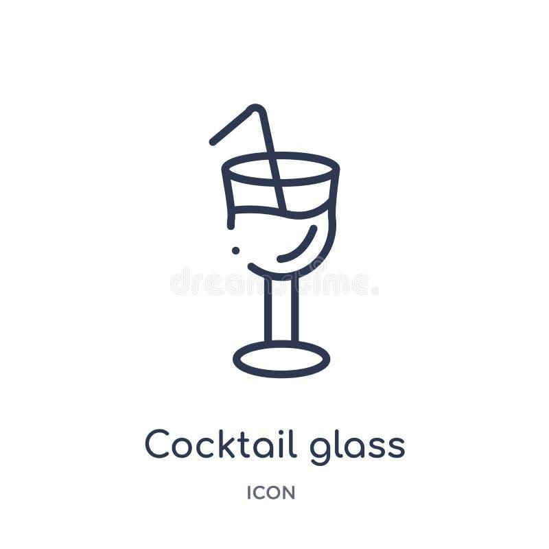 Liniowy koktajlu szkło z kostka lodu ikoną od bistr i restauracyjnej kontur kolekcji Cienieje kreskowego koktajlu szkło z kostka  ilustracja wektor