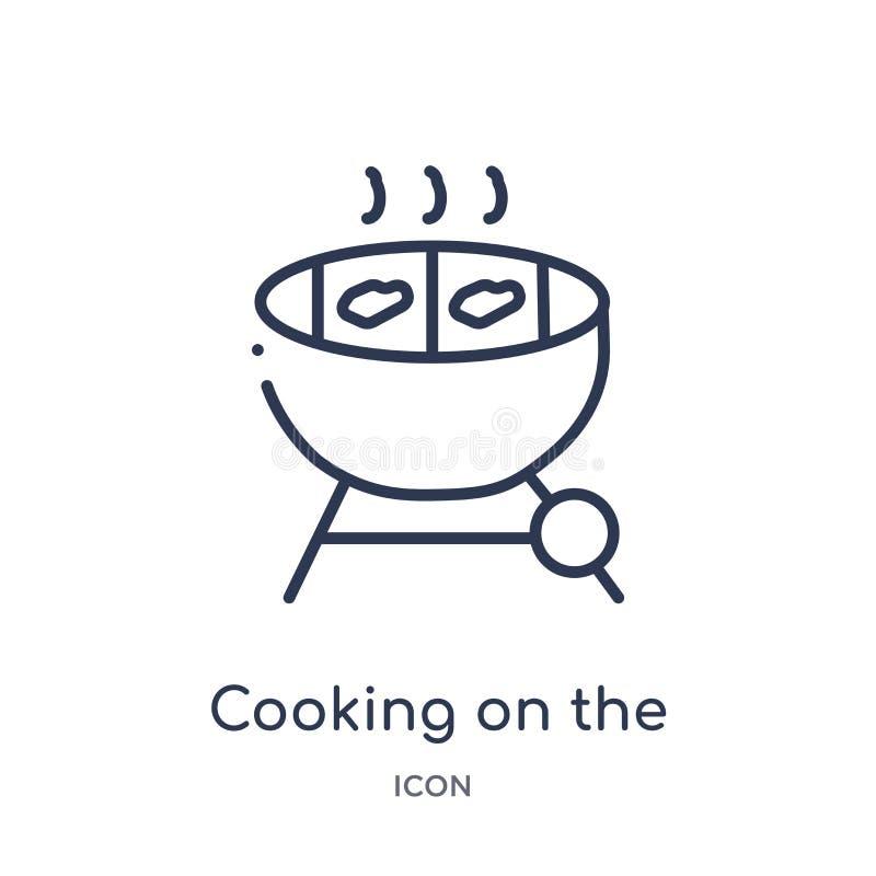 Liniowy kucharstwo na grill ikonie od Karmowej kontur kolekcji Cienieje kreskowego kucharstwo na grill ikonie odizolowywającej na royalty ilustracja
