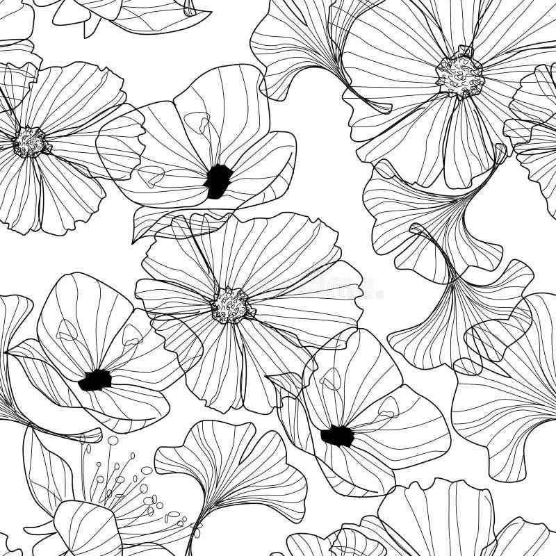 Liniowy kwiecisty tło, kwiatu wzór royalty ilustracja