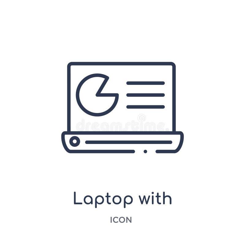 Liniowy laptop z analizy ikoną od biznesu i analityka zarysowywamy kolekcję Cienieje kreskowego laptop z analiza wektorem odizolo ilustracja wektor