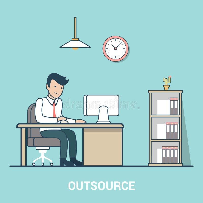 Liniowy mieszkanie Zlecać na zewnątrz Biznesowego mężczyzna stołu biuro wewnątrz ilustracja wektor