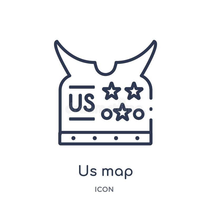 Liniowy my mapy ikona od wojsko konturu kolekcji Cienka linia my mapa wektor odizolowywający na białym tle my mapy modna ilustrac ilustracji