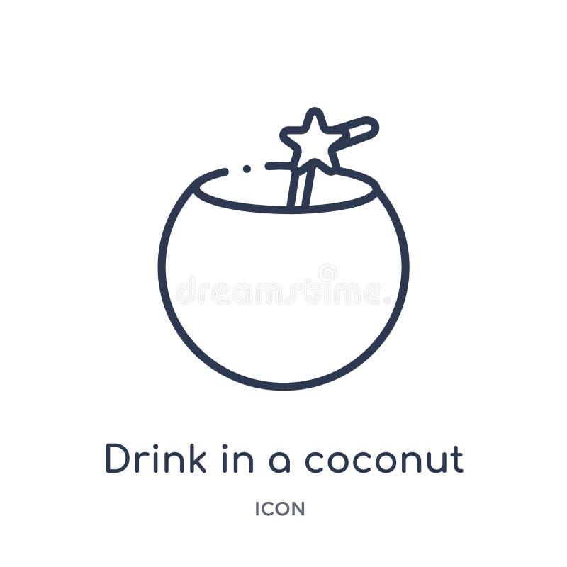Liniowy napój w kokosowej ikonie od Karmowej kontur kolekcji Cienki kreskowy napój w kokosowej ikonie odizolowywającej na białym  ilustracji