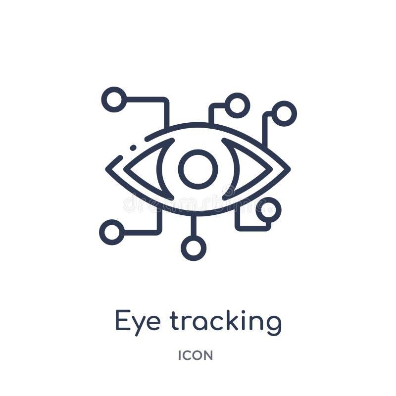 Liniowy oko tropi ikonę od Sztucznej intellegence i przyszłości technologii konturu kolekcji Cienki kreskowy oko tropi wektor ilustracja wektor