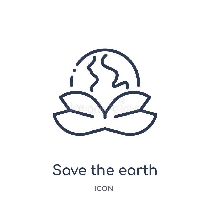 Liniowy oprócz ziemskiej ikony od ekologia konturu kolekcji Cienieje linię oprócz ziemskiego wektoru odizolowywającego na białym  royalty ilustracja