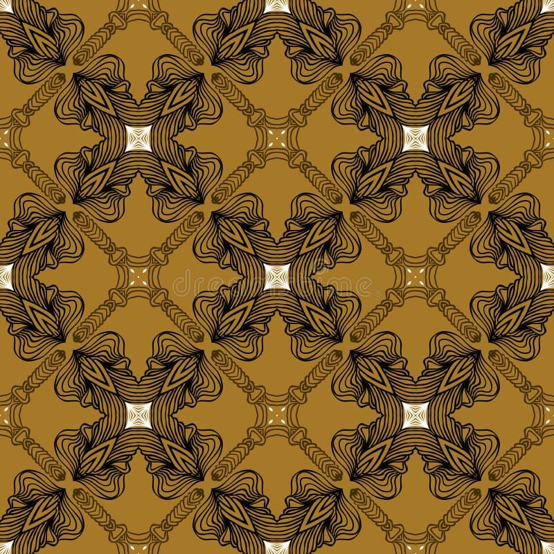 Liniowy ornament w art deco stylu w starym złocie ilustracja wektor