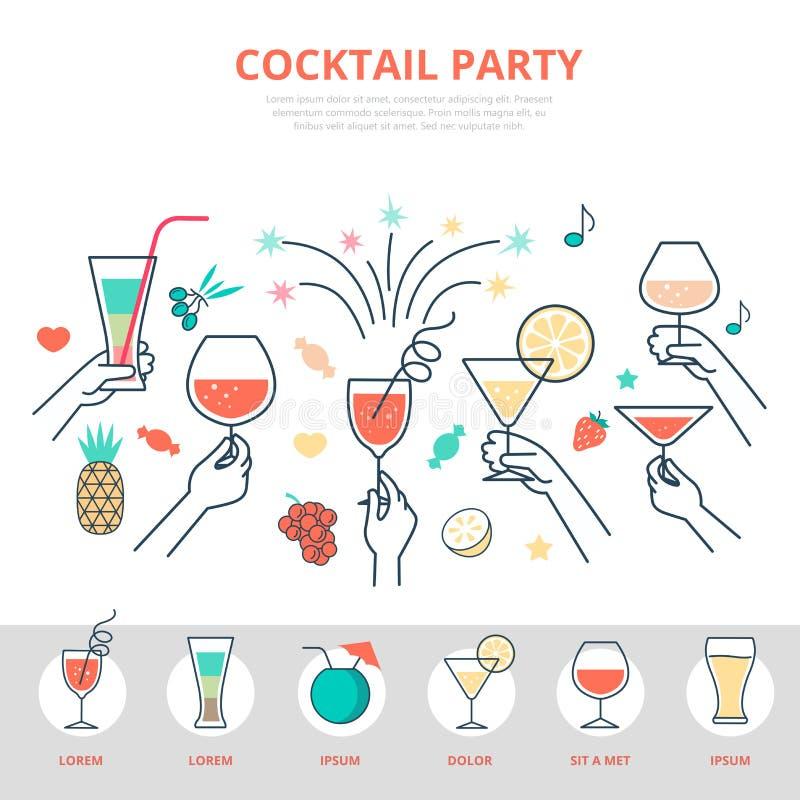Liniowy płaski świętowanie alkoholu napoju koktajlu pa ilustracja wektor