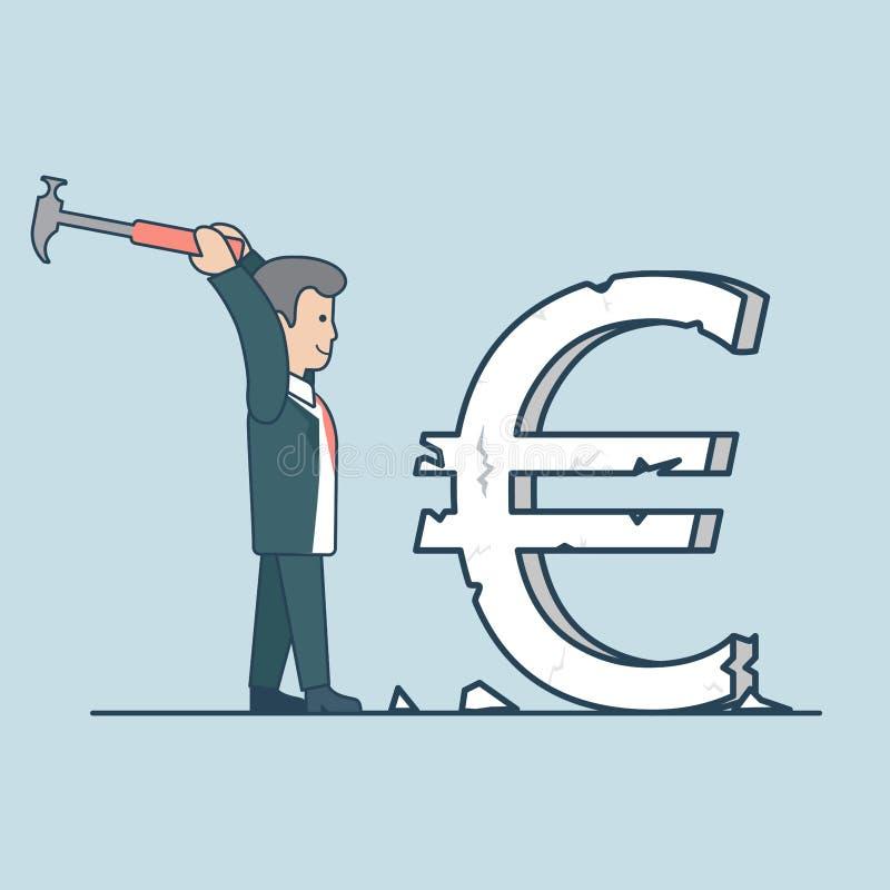 Liniowy Płaski biznesowego mężczyzna euro znaka młota wektor ilustracja wektor