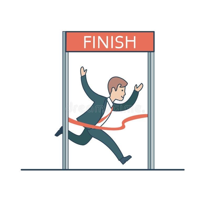 Liniowy Płaski biznesowego mężczyzna lidera bieg zasięg koniec v royalty ilustracja