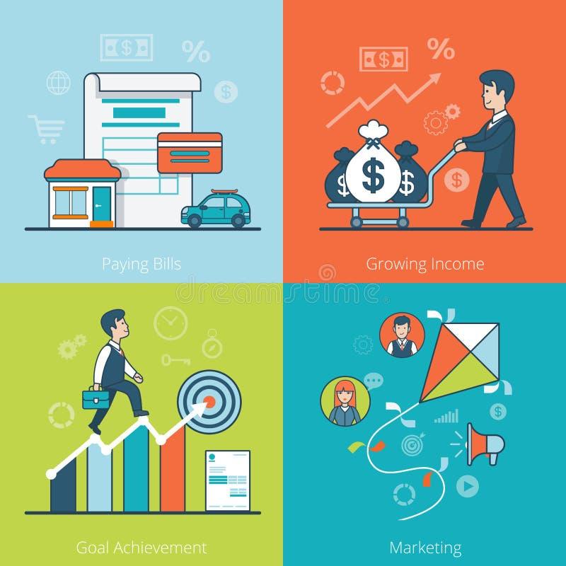 Liniowy Płaski biznesowego mężczyzna pieniądze wektor Wystawia rachunek cel M ilustracja wektor