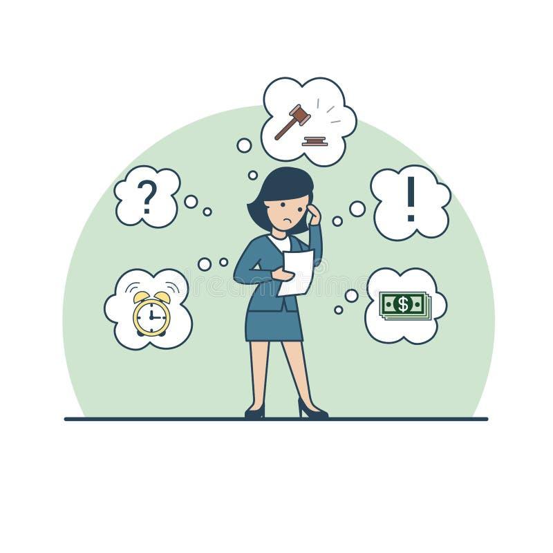 Liniowy Płaski Biznesowy pożyczanie kobiety młoteczka pieniądze ilustracja wektor