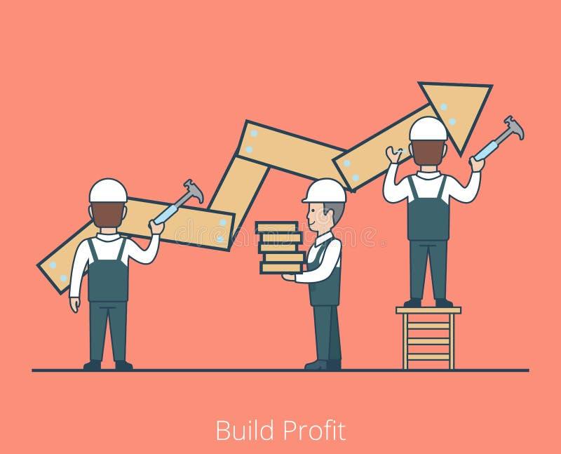 Liniowy Płaski budowa zysku pracownik przybija młot ilustracja wektor