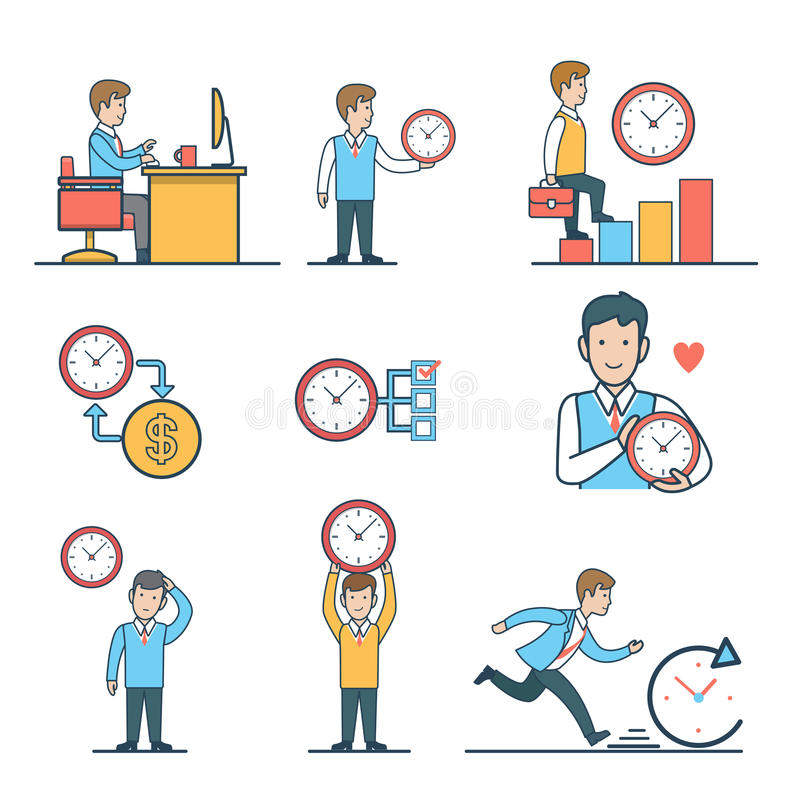 Liniowy Płaski czasu zarządzania strony internetowej wektorowy concep ilustracji