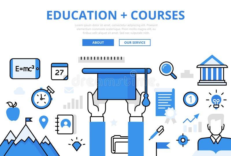 Liniowy płaski edukacja kursów infographic wizerunek royalty ilustracja
