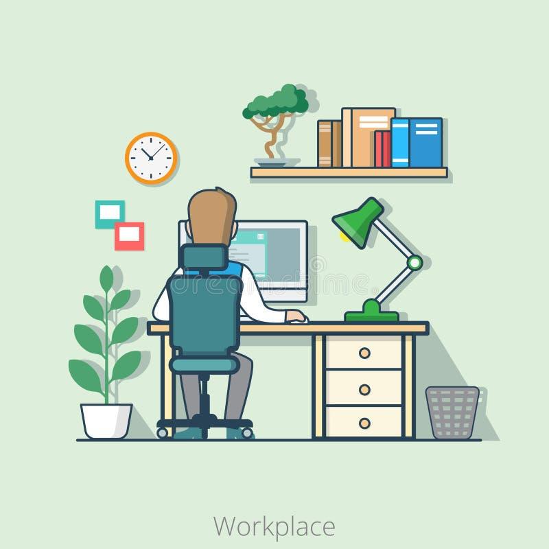 Liniowy płaski kreskowej sztuki biznesowego biura wnętrza biurko ilustracja wektor