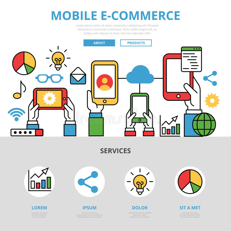 Liniowy płaski Mobilny handlu elektronicznego infographics templat ilustracji