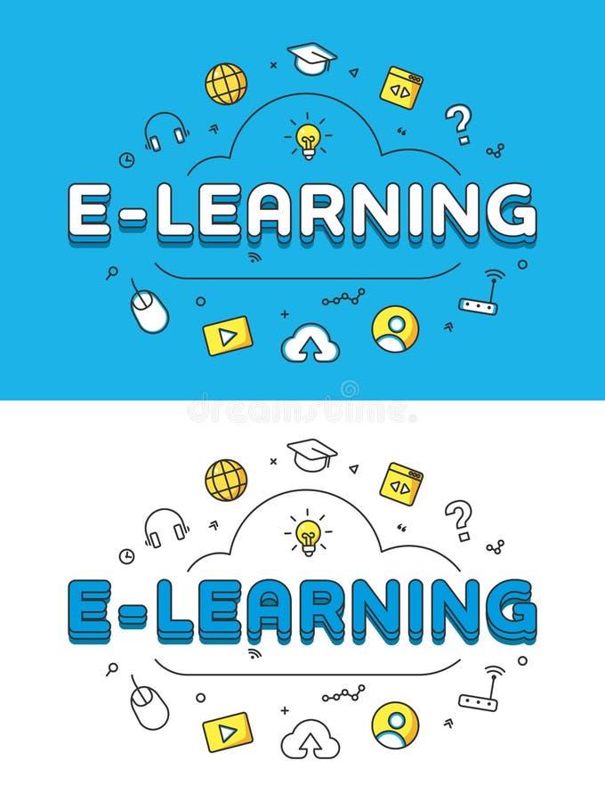 Liniowy Płaski nauczanie online chmury strony internetowej wektor Onlin royalty ilustracja