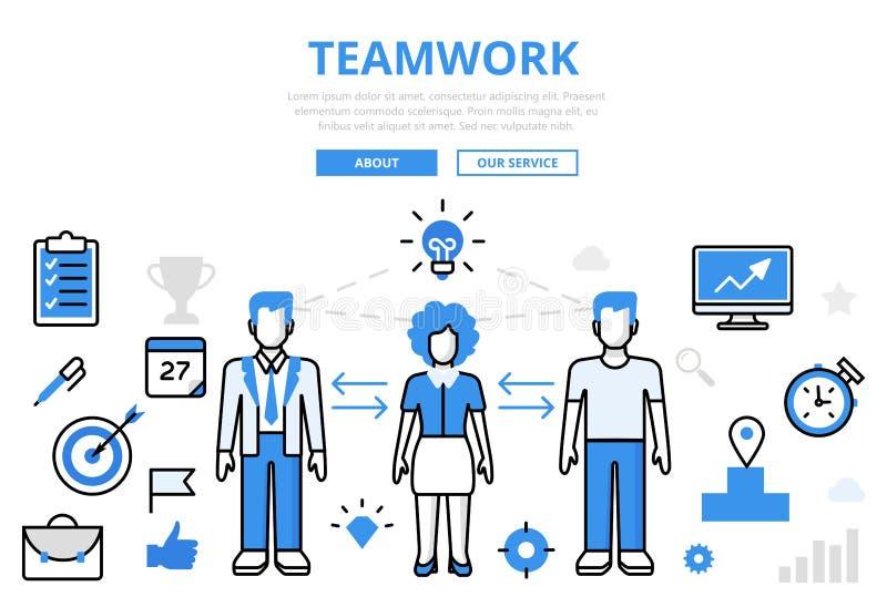 Liniowy płaski pracy zespołowej infographics szablon ilustracja wektor