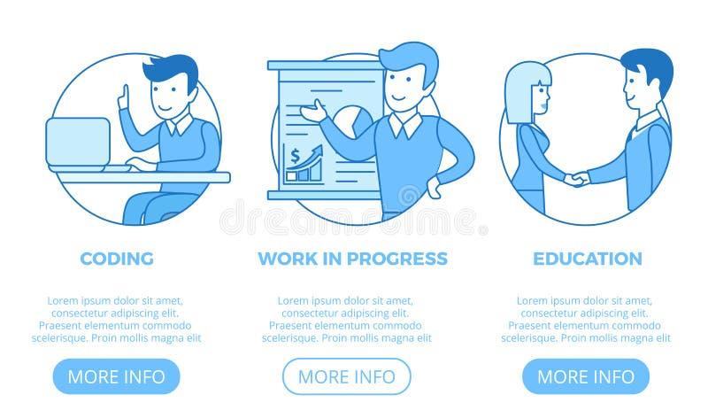 Liniowy płaski strony sieci projekta szablonu wektor Busin royalty ilustracja