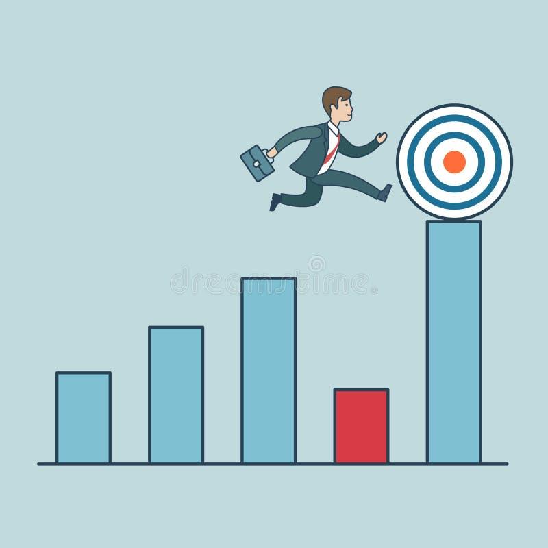 Liniowy Płaski sukcesu Biznesowego mężczyzna działający diagram ilustracja wektor