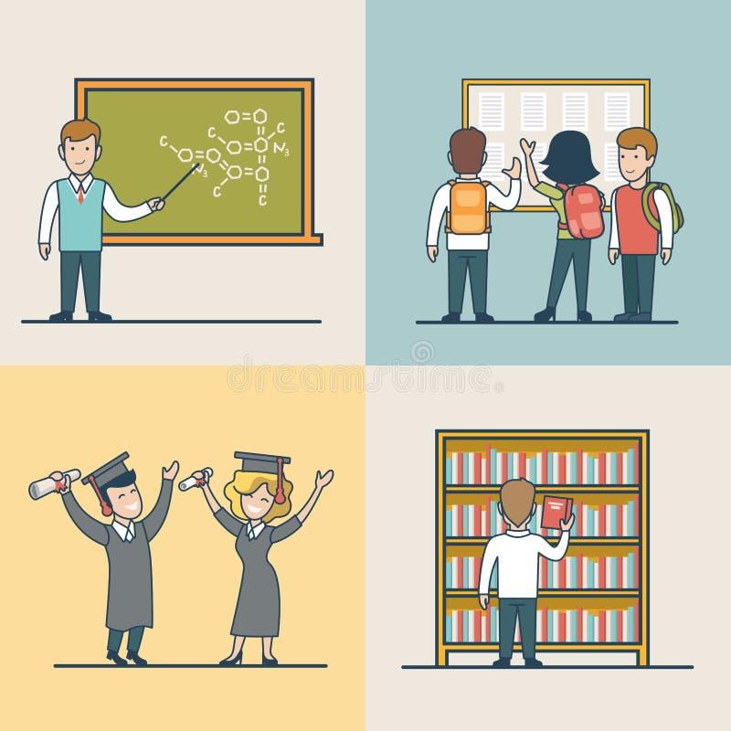 Liniowy Płaski uniwersyteta tematu nauki skalowanie royalty ilustracja