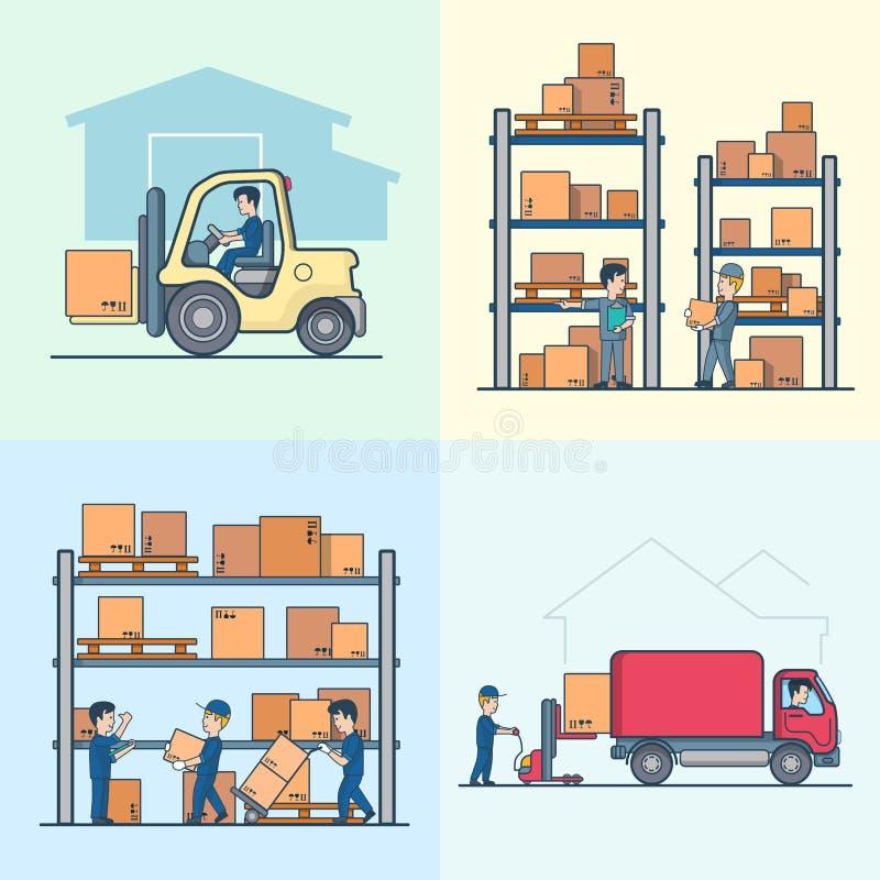 Liniowy Płaski wektorowy ładowacz odkłada pudełko obciążeniowego samochód dostawczego ilustracji