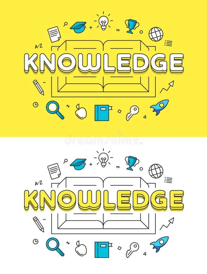 Liniowy Płaski wiedzy książki strony internetowej wektor ilustracji