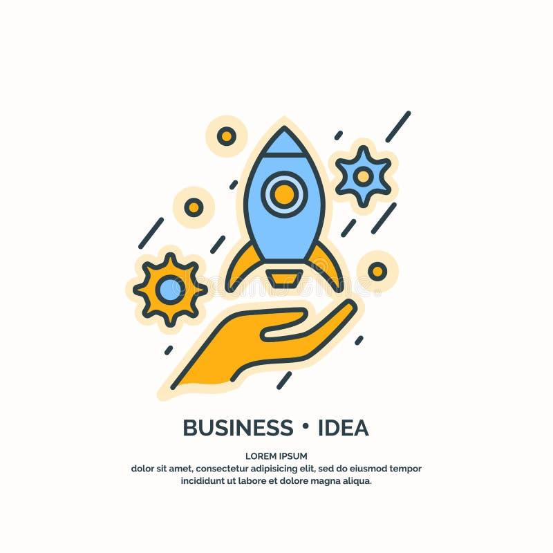 Liniowy plakat Biznesowy pomysł royalty ilustracja