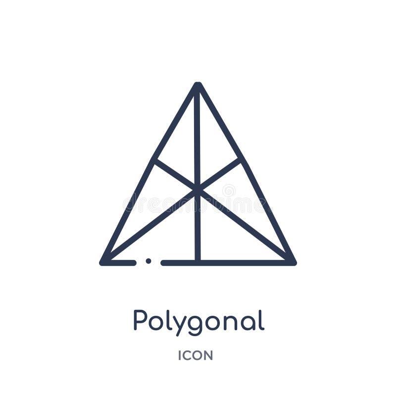 Liniowy poligonalny ostrosłup trójbok ikona od geometria konturu kolekcji Cienieje kreskowego poligonalnego ostrosłup trójbok iko ilustracji