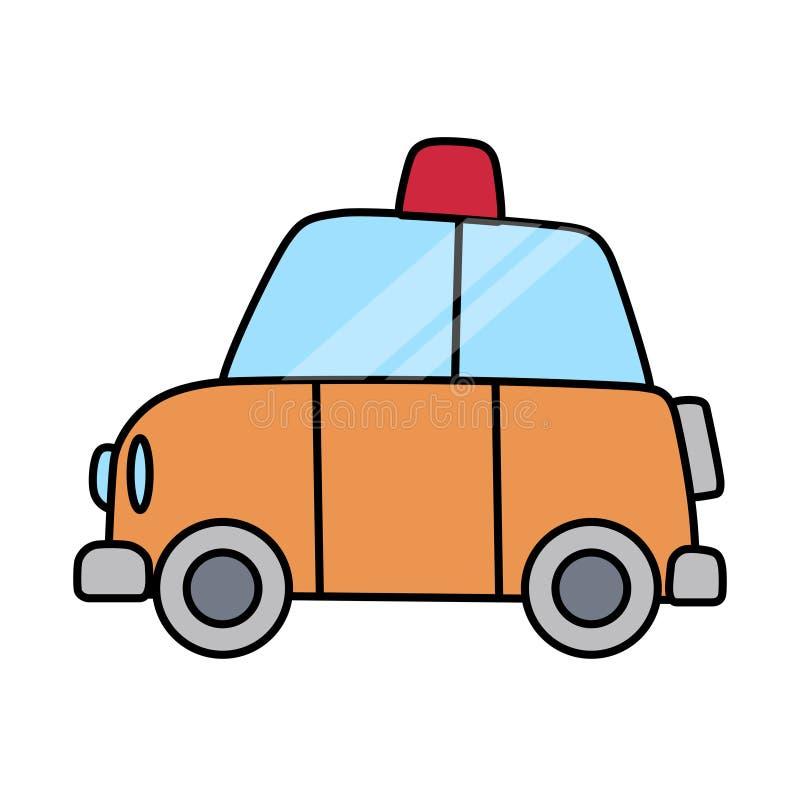Liniowy prosty samochód policyjny oddzielający na biel przestrzeni ilustracji