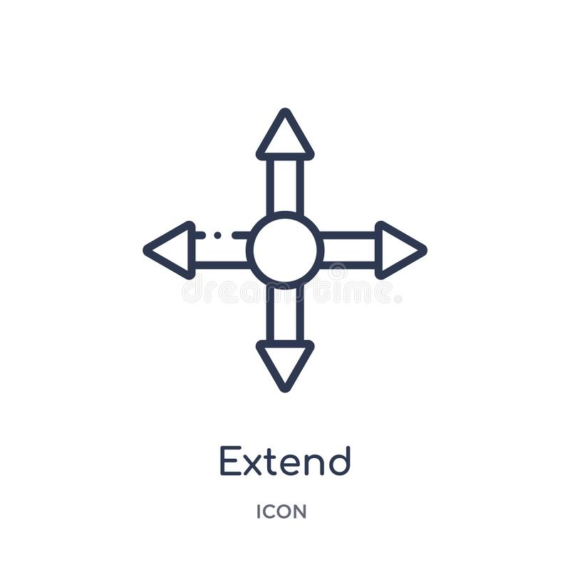 Liniowy przedłużyć ikonę od geometria konturu kolekcji Cienka linia przedłużyć ikonę odizolowywającą na białym tle przedłużyć mod ilustracja wektor