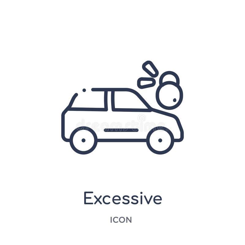 Liniowy przesadny ciężar dla pojazd ikony od Asekuracyjnej kontur kolekcji Cienieje kreskowego przesadnego ciężar dla pojazd ikon ilustracji