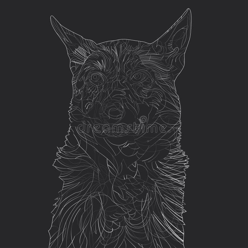Liniowy psi portret ilustracji