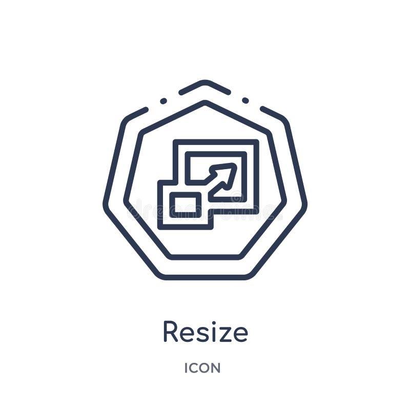 Liniowy resize ikonę od strzała konturu kolekcji Cienka linia resize wektor odizolowywającego na białym tle resize modnego royalty ilustracja