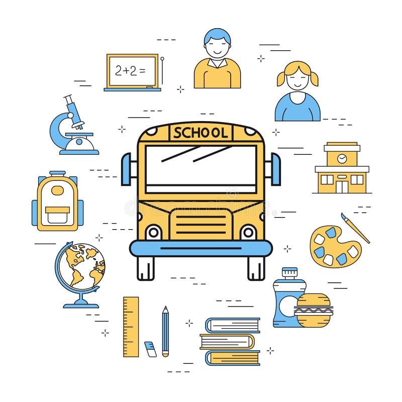 Liniowy round sztandar autobus szkolny ilustracja wektor