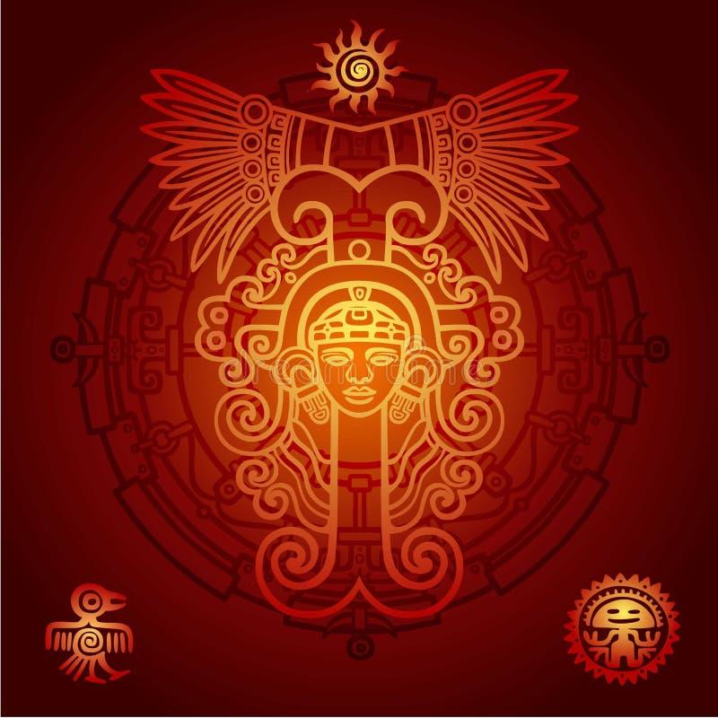 Liniowy rysunek: dekoracyjny wizerunek antyczny Indiański bóstwo okrąg mistyczny ilustracji