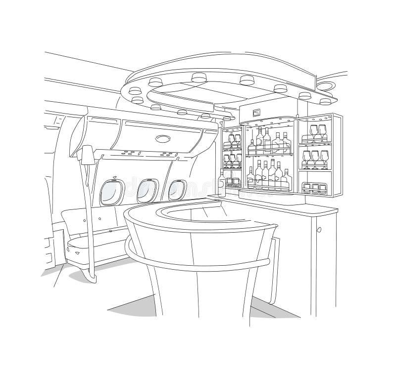 Liniowy rysunek pr?towy wn?trze pr?towy klasa business samolot pojedynczy bia?e t?o royalty ilustracja