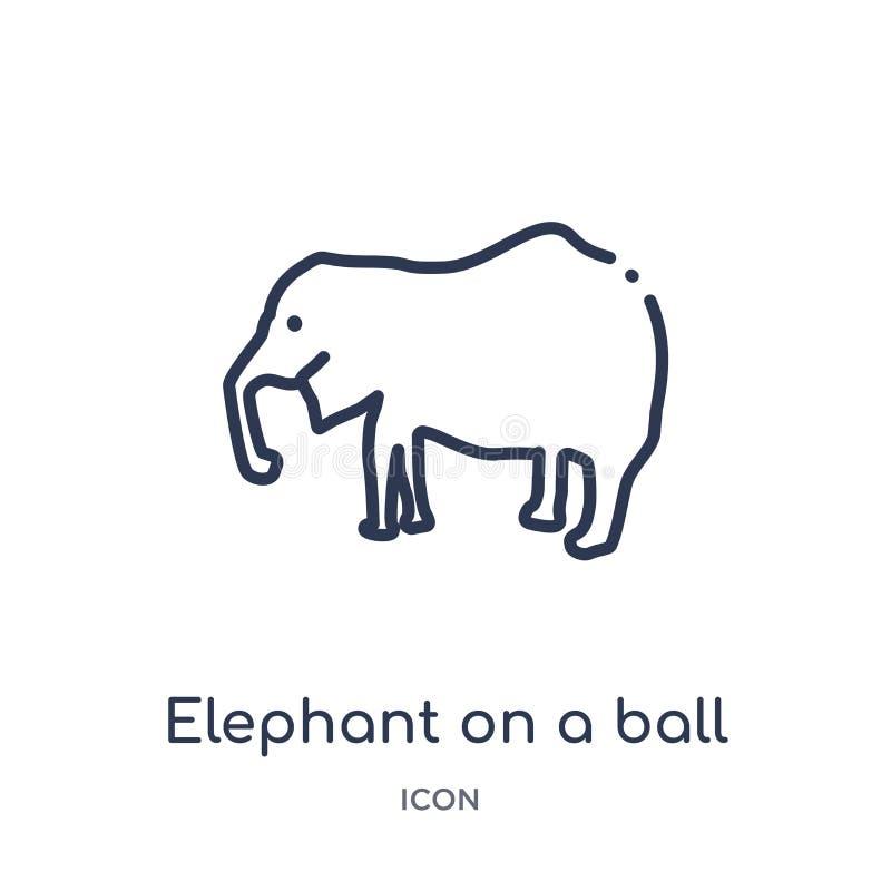 Liniowy słoń na balowej ikonie od zwierząt zarysowywa kolekcję Cienieje kreskowego słonia na balowej ikonie odizolowywającej na b ilustracji